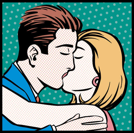 Cartoon of couple kissing