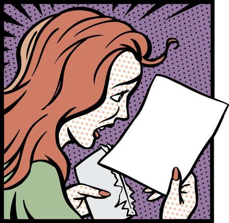 Cartoon of surprised woman looking at paperwork