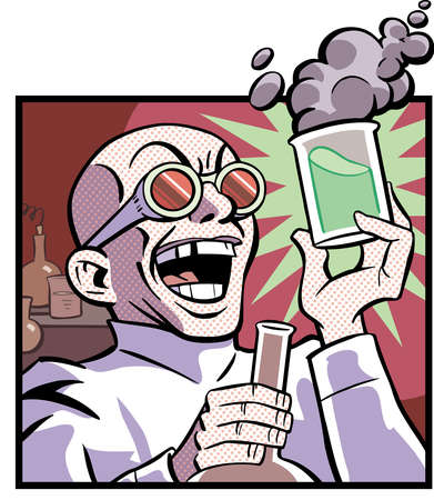 Cartoon of mad scientist with smoking beaker