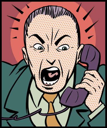 Cartoon of angry man talking on telephone