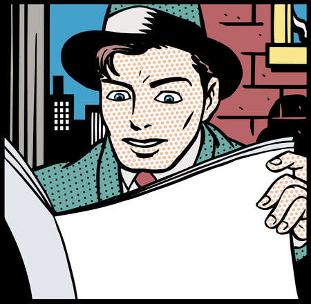 Cartoon of businessman reading newspaper
