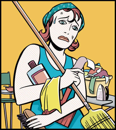 Stock Illustration - Cartoon of unhappy woman holding ...