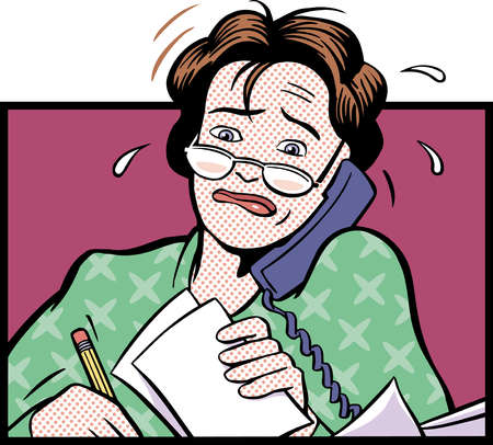 Cartoon of worried woman talking on telephone and holding paperwork