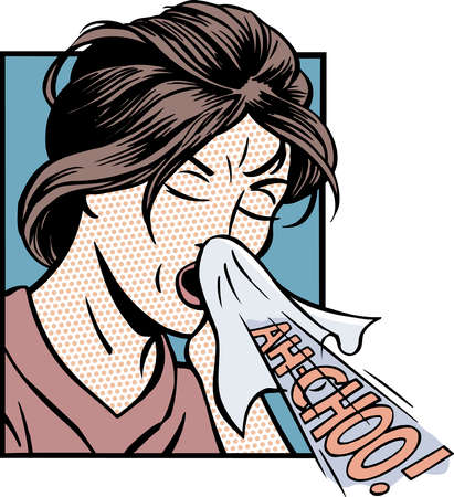 Cartoon of woman sneezing into tissue