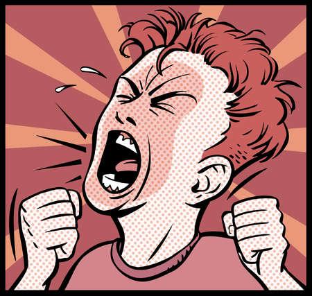 Cartoon of angry boy screaming