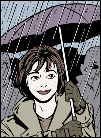 Cartoon of smiling woman with umbrella in rain
