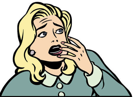 Cartoon of afraid woman with hand covering mouth