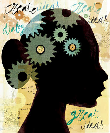 silhouetted profile of woman with gears and words describing the thought process