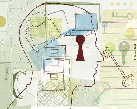 Man's profile with montage of key,keyhole,keys,folders and other business supplies