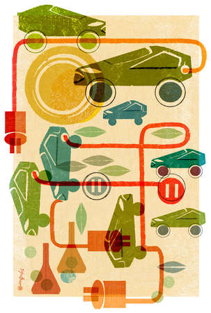 Montage of cars,solar power,electrical cords and petroleum