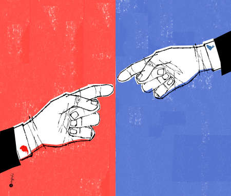 two hands pointing at each other in front of red and blue background