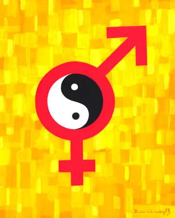 male and female symbols around the yin yang symbol