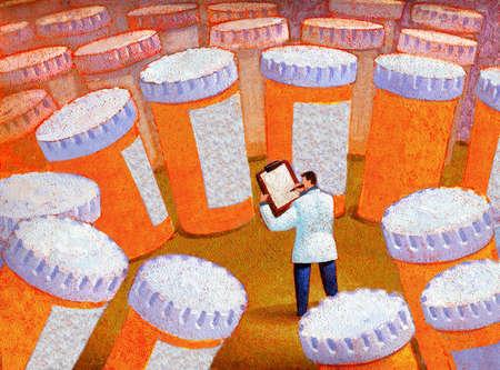 Doctor amid prescription bottles