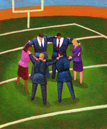 Employees in a huddle
