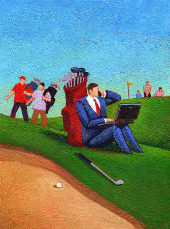 Man on Golf Course with his Laptop