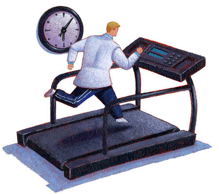 Doctor on a treadmill in a room with a clock
