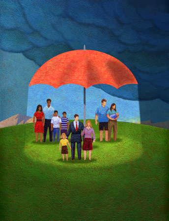 Several Families Under an Umbrella