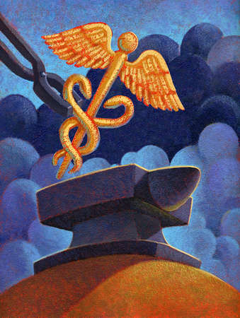 Chained Caduceus put on an anvil