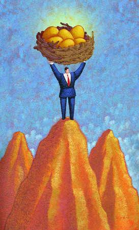 Man on top of Mountain peak holding nest egg