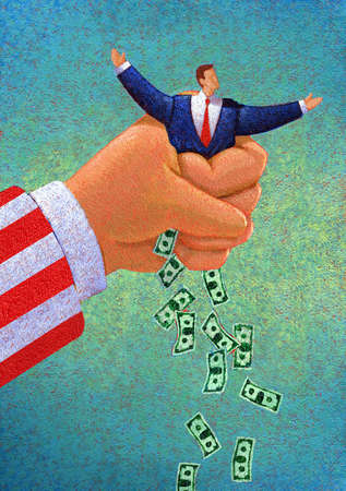 Uncle Sam Squeezing Money Out of Man