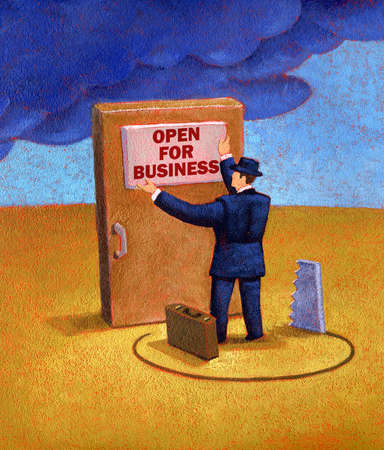 Man Putting up Open for business sign standing on shaky ground