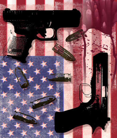 Two Guns and Bullets on an American Flag Splattered with Blood