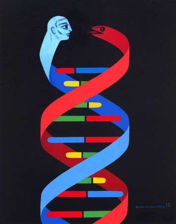 genetic double helix with snake and man