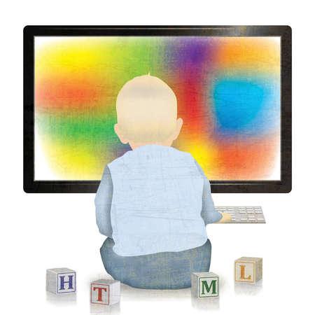 Baby in front of monitor ignoring alphabet blocks