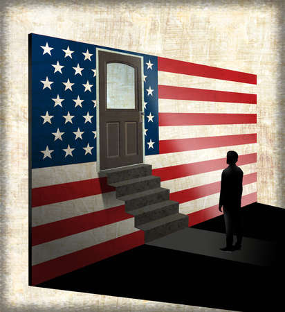 Immigrant walking to a door through the American Flag