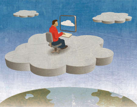 Man on his Computer In the Cloud