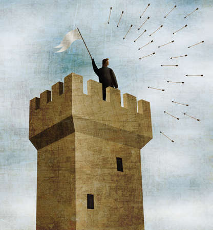 Businessman in Tower, Waving White Flag in the Midst of Incoming Arrows