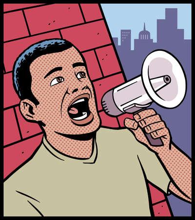 Man Speaking Through Megaphone