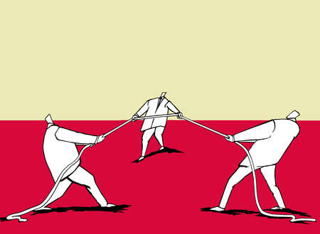 Three Men Pulling  a Rope in Different Directions