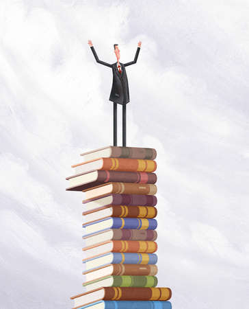 Man With Outstretched Arms Standing On Top Of Pile Of Books