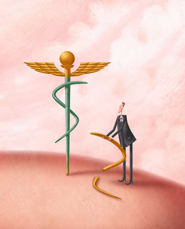 Man Trying to Replace A Broken Caduceus With A Dollar Sign