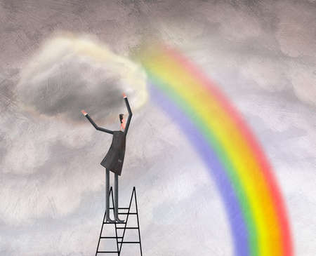 Man on Ladder Removing Cloud From Rainbow