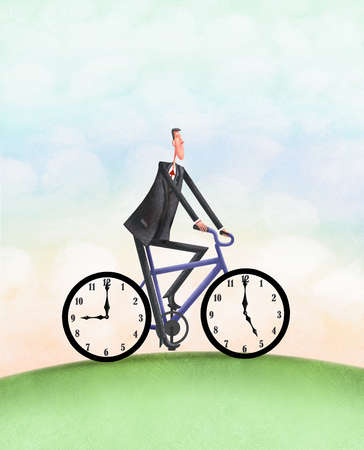 Man Riding Bike With Clocks For Wheels