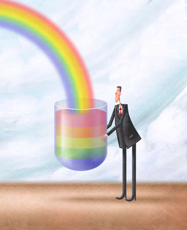 Man Catching Rainbow with Glass