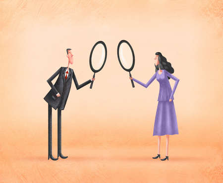 Man and Woman looking Over Each Other With Magnifying Glasses