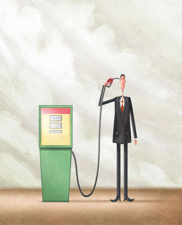 Man Pointing Gas Pump Nozzle to His head