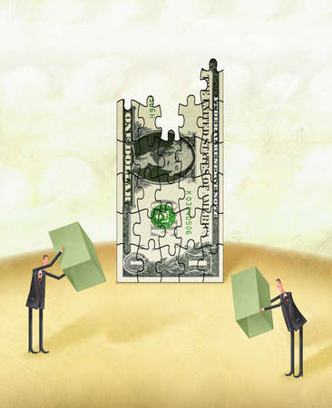 Two Men Working On A Dollar Bill Puzzle