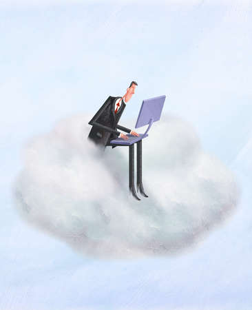 Man in cloud on his laptop