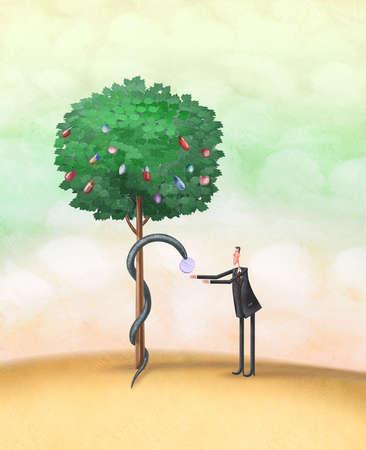 Snake giving man pill from tree of medications