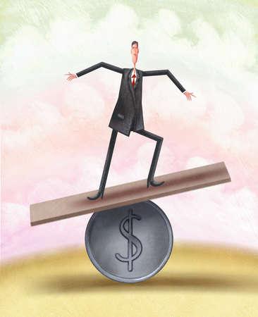 Man balancing on a coin