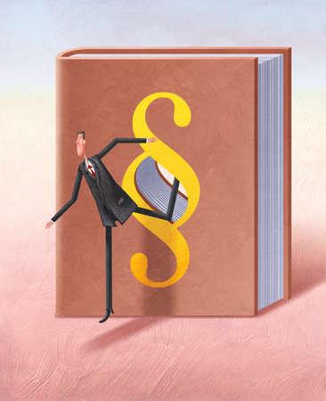 Stock Illustration - Man walking through book with