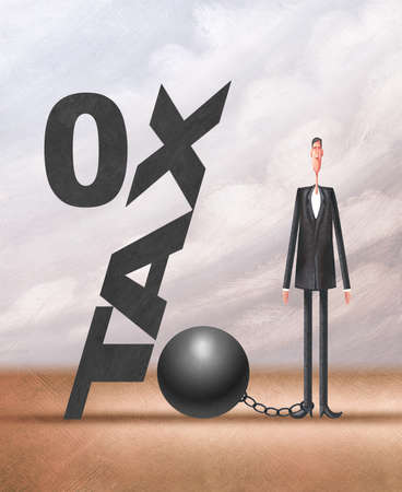businessman next to TAX as a ball and chain