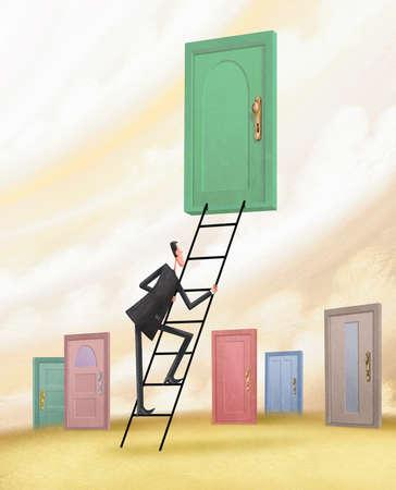 Man ascending ladder towards door with various doors beneath