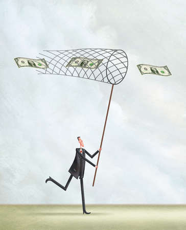 Man trying to catch money with an open net