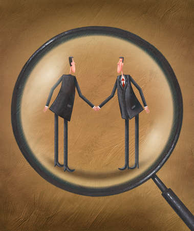 Two men shaking hands under a magnifying glass