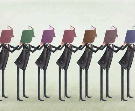 Line up of men with books covering their faces